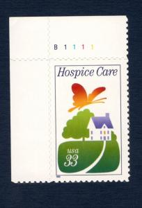 3276 Hospice Care US Single W/Plate Number Mint/nh (Free shipping offer)