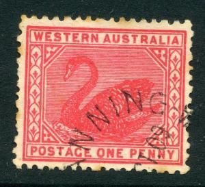 WESTERN AUSTRALIA Early 1900s classic Swan issue 1d. fine used fair POSTMARK