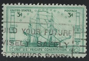 US #951 3c Naval Architects Drawing of Frigate Constitution