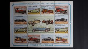 Cars - Old - Sao Tome and Principe 1983 - full sheet of 3x set perforated ** MNH
