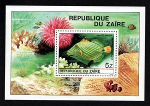 Zaire 981a Mint NH MNH Souvenir Sheet Flora Fauna Fish!
