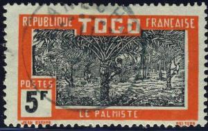 TOGO - 1937 - CACHET À DATE D'ANECHO SUR 5fr PALMISTE (Yv.143)