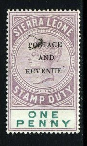 SIERRA LEONE QV 1897 POSTAGE AND REVENUE Overprint on 1d. Stamp Duty SG 54 MINT