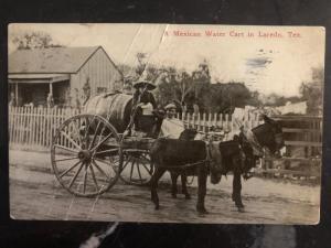 1914 Laredo TX USA RPPC Postcard Cover Mexicican Water Cart Donkey to KC MO
