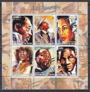 Benin, 2003 Cinderella issue. Jazz Singers sheet of 6.