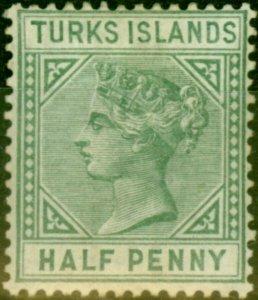 Turks Islands 1885 1/2d Pale Green SG53a Fine Mtd Mint