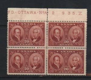 Canada #148 Mint Plate #2 Block