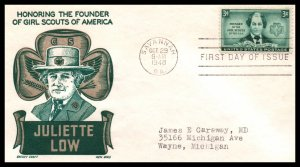 US 974 Juliette Low Cachet Craft Boll Typed FDC