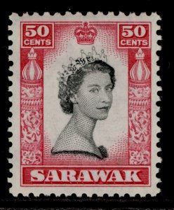 SARAWAK QEII SG199, 50c black & carmine, NH MINT.