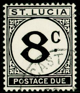 ST. LUCIA SGD9a, 8c black, VERY FINE USED. Cat £50. CHALKY.