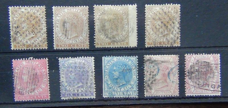 Straits Settlements QV Range with values to 30c x 2 Used