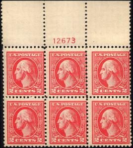 1920 Us Stamp #528B A140 2c Plate Block of 6 Catalogue Value $375