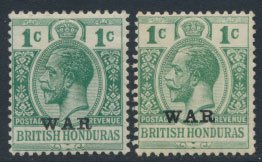 British Honduras SG 116 / 116b SC # MR2 MH WAR overprint see scan and details
