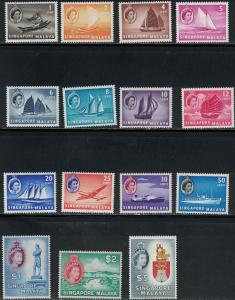 Singapore SC28-42 QueenElizabethII/withMixedTopicalsShips etc.&Scenics MNH1955