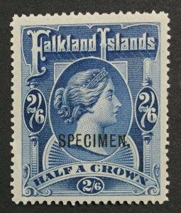MOMEN: FALKLAND ISLANDS SG #41s SPECIMEN 1898 MINT OG H LOT #191444-350