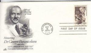 1978, Honoring Dr. George Papanicolaou, Artcraft, FDC (E7873)