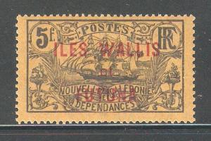 Wallis & Futuna 1920, 5fr Overprinted,Sc 28,VF-XF Mint Hinged*OG (K-8)