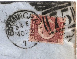 GB HALFPENNY Plate 20 Cover ½d Red Large Part BANKRUPTCY NOTICE B'ham 1879 15.8