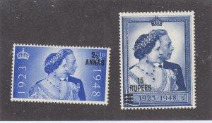 OMAN # 25-26 VF-MNH KGV1 1948 SILVER WEDDING (OM1))
