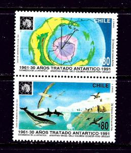 Chile 975a MH 1991 Antarctic Treaty Anniversary Pair
