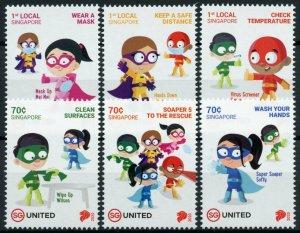 Singapore Medical Stamps 2020 MNH Soaper 5 Superheroes Corona SG United 6v Set