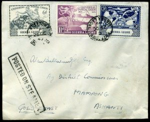 Sierra Leone 1949 UPU x3 Values Posted On Steamer (creased)