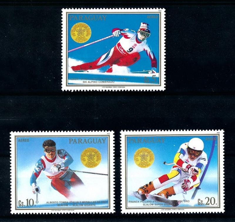 [92275] Paraguay 1988 Olympic Games Calgary Skiing From Set MNH