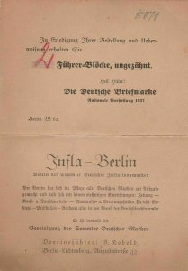 Berlin National Stamp Exhibition 1937 Stamp Advertising Card  Ref 31004