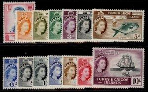 TURKS & CAICOS ISLANDS QEII SG237-250, short set, M MINT. Cat £80.