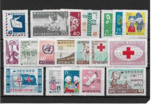Korea Scott # 283-301 sets ,F-VF hinged*nice color scv $45+,see pic!