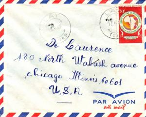 Chad 30F African Development Bank 1969 Lat, Tchad Airmail to Chicago, Ill.  C...