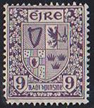 Ireland Sc. #74 Mint 9 Pence SE in Monogram WMK. LL Crnr. Perf. Missing O/WFNH