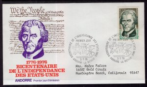 Andorra French 248 Thomas Jefferson Typed FDC