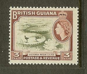 British Guiana, Scott #279, 3c Queen Elizabeth II, Wmk 314, MLH