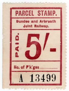 (I.B) Dundee & Arbroath Joint Railway : Parcel Stamp 5/-