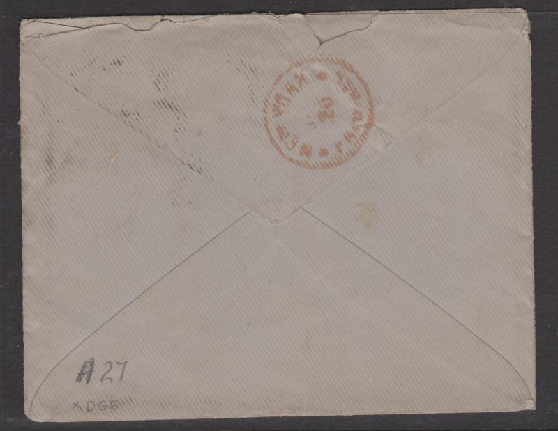 Great Britain 1875 QV 3d Rose Sc#61 Pair on Cover to USA New York Backstamp