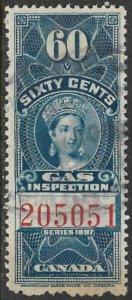 CANADA 1897 QV 60c GAS INSPECTION REVENUE VDM. FG20 F-VF USED