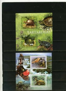 ST.THOMAS & PRINCE ISLANDS 2011 FAUNA TURTLES 2 SHEETS OF 2 STAMPS MNH