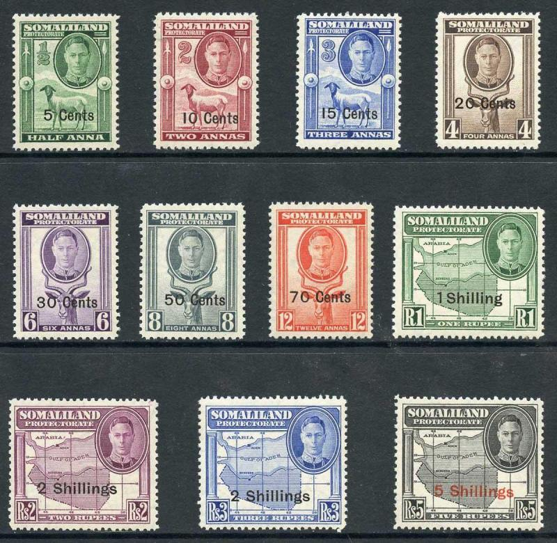 Somaliland Protectorate SG125/35 1942 KGVI Set of 11 with Opt M/M