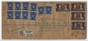 1937 British offices in Morocco registered cover 14 stamps [y6051]