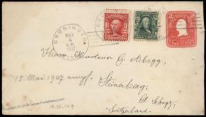 USA 1907 Croningen Minnesota Steinerberg Switzerland Transatlantic Cover U 81926