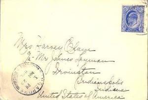 Singapore Straits Settlements 8c KEVII 1910 Singapore to Indianapolis, Ind.  ...