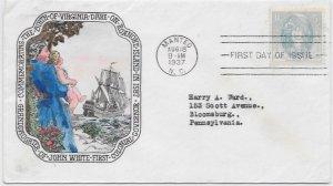 796 FDC, Hand Colored Historic Art Cache, Virginia Dare, Free Insured Shipping;