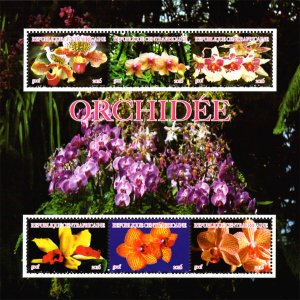 Central Africa 2015 African Orchid Flowers 6v Mint Souvenir Sheet S/S. (L-71)