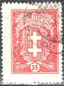 LITHUANIA SCOTT #214+217+247 **USED** 1927-30 DOUBLE BARRED CROSS   SEE SCAN