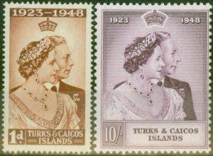 Turks & Caicos Is 1948 RSW set of 2 SG208-209 Fine Mtd Mint