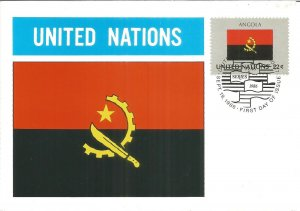 United Nations German Postcard Nations Flags 1986 Angola Stamp Postmarked U2547