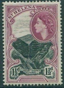 St Helena 1953 SG155 1½d black and purple Heart Shaped Waterfall QEII MLH