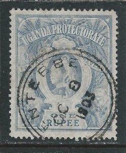 UGANDA 1898-1902 1r DULL BLUE FU SG 90 CAT £70