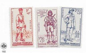 French Sudan #B11-B13 MH - Stamp - CAT VALUE $4.05